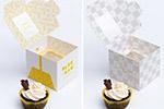 一个纸杯蛋糕盒样机