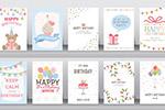 扁平化卡通生日卡
