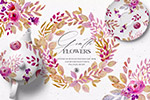 手绘水彩花卉图案