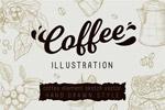 手绘咖啡店线描