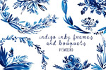 手绘靛蓝花卉