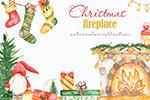 水彩圣诞壁炉剪贴画