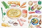 水彩食物插图