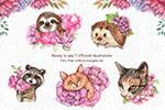 手绘花卉和动物插图