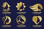 人物剪影元素金色标志