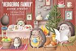 刺猬家庭场景插画