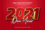 描边金属质感新年立体字