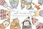可爱动物冬季面料插画