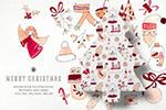 圣诞快乐主题水彩剪贴画