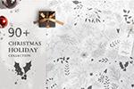 圣诞节手绘树叶画框