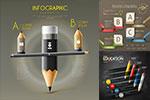 铅笔与灯泡信息图表