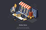 在线购物与移动支付插画