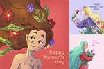 女人花元素妇女节插画