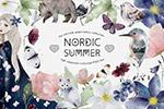 北欧风夏季手绘水彩画