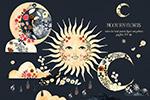 手绘水彩月亮太阳花太阳脸