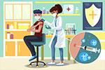 注射新冠肺炎疫苗人物插画