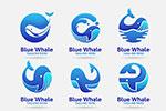 蓝色鲸鱼动物图案标志