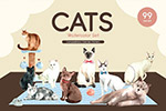 猫咪宠物水彩插画