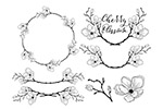 手绘樱花花卉装饰元素