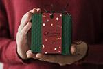 圣诞礼物盒标签样机