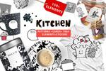 手绘厨房用品矢量