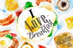 早餐水彩图形