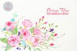 玫瑰水彩花卉