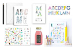 时尚字母表插画