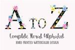 水彩花卉字母表