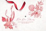 水彩水墨花卉插画