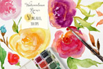手绘水彩玫瑰图形