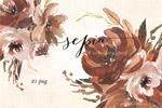 棕色艺术花卉插图