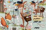 小鹿和野兔插画
