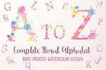 粉色花卉字母