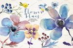 蓝色花卉素材插画