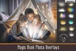 魔法书灯叠层背景