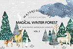 水彩冬季森林动物