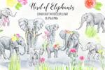 大象群水彩剪贴画