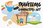 墨西哥旅行人物插画