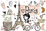 手绘巴黎插图