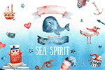 水彩海洋生物剪贴画
