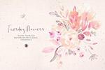水彩淡雅花卉插图